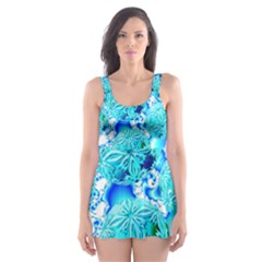 Blue Ice Crystals, Abstract Aqua Azure Cyan Skater Dress Swimsuit
