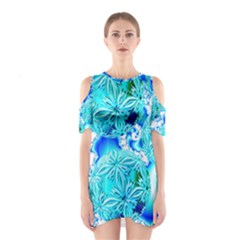 Blue Ice Crystals, Abstract Aqua Azure Cyan Cutout Shoulder Dress