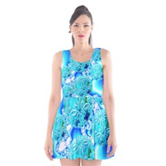 Blue Ice Crystals, Abstract Aqua Azure Cyan Scoop Neck Skater Dress