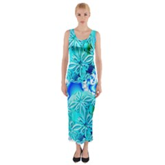 Blue Ice Crystals, Abstract Aqua Azure Cyan Fitted Maxi Dress