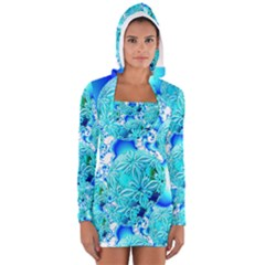 Blue Ice Crystals, Abstract Aqua Azure Cyan Women s Long Sleeve Hooded T-shirt