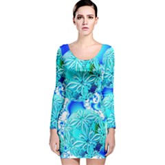 Blue Ice Crystals, Abstract Aqua Azure Cyan Long Sleeve Velvet Bodycon Dress
