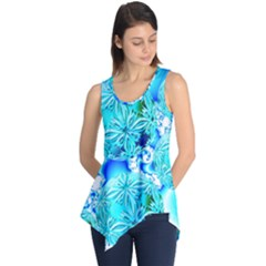 Blue Ice Crystals, Abstract Aqua Azure Cyan Sleeveless Tunic