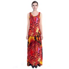 Flame Delights, Abstract Red Orange Full Print Maxi Dress