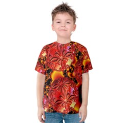 Flame Delights, Abstract Red Orange Kid s Cotton Tee