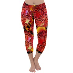 Flame Delights, Abstract Red Orange Capri Winter Leggings