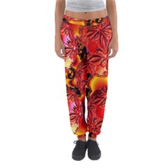 Flame Delights, Abstract Red Orange Women s Jogger Sweatpants