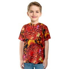Flame Delights, Abstract Red Orange Kid s Sport Mesh Tee