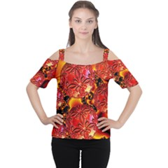 Flame Delights, Abstract Red Orange Women s Cutout Shoulder Tee