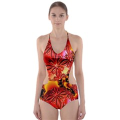 Flame Delights, Abstract Red Orange Cut-Out One Piece Swimsuit