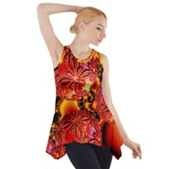 Flame Delights, Abstract Red Orange Side Drop Tank Tunic