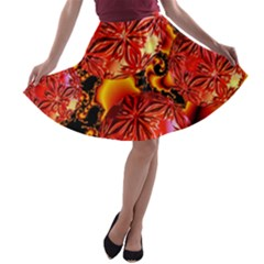 Flame Delights, Abstract Red Orange A-line Skater Skirt
