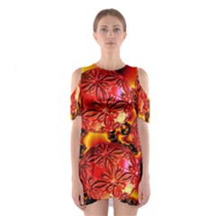 Flame Delights, Abstract Red Orange Cutout Shoulder Dress