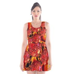 Flame Delights, Abstract Red Orange Scoop Neck Skater Dress