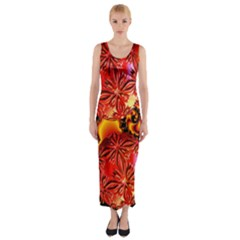 Flame Delights, Abstract Red Orange Fitted Maxi Dress