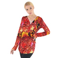 Flame Delights, Abstract Red Orange Women s Tie Up Tee