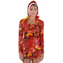 Flame Delights, Abstract Red Orange Women s Long Sleeve Hooded T-shirt