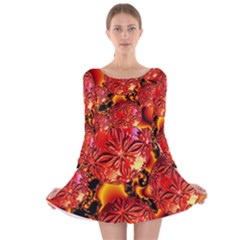 Flame Delights, Abstract Red Orange Long Sleeve Velvet Skater Dress