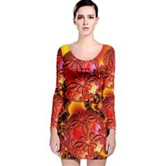 Flame Delights, Abstract Red Orange Long Sleeve Velvet Bodycon Dress