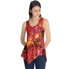 Flame Delights, Abstract Red Orange Sleeveless Tunic
