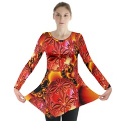 Flame Delights, Abstract Red Orange Long Sleeve Tunic