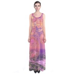 Glorious Skies, Abstract Pink And Yellow Dream Full Print Maxi Dress