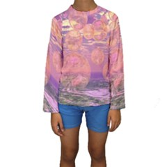 Glorious Skies, Abstract Pink And Yellow Dream Kid s Long Sleeve Swimwear