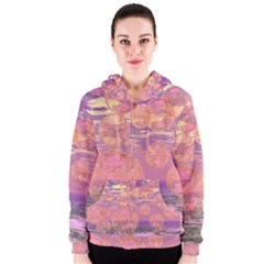 Glorious Skies, Abstract Pink And Yellow Dream Women s Zipper Hoodie