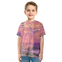 Glorious Skies, Abstract Pink And Yellow Dream Kid s Sport Mesh Tee