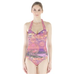 Glorious Skies, Abstract Pink And Yellow Dream Women s Halter One Piece Swimsuit