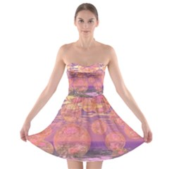 Glorious Skies, Abstract Pink And Yellow Dream Strapless Dresses