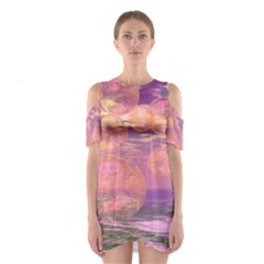 Glorious Skies, Abstract Pink And Yellow Dream Cutout Shoulder Dress
