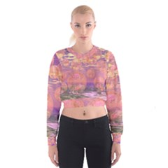 Glorious Skies, Abstract Pink And Yellow Dream Women s Cropped Sweatshirt