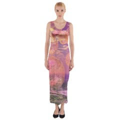 Glorious Skies, Abstract Pink And Yellow Dream Fitted Maxi Dress