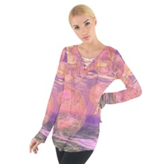 Glorious Skies, Abstract Pink And Yellow Dream Women s Tie Up Tee