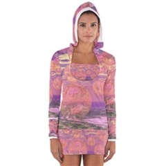 Glorious Skies, Abstract Pink And Yellow Dream Women s Long Sleeve Hooded T Shirt