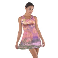 Glorious Skies, Abstract Pink And Yellow Dream Racerback Dresses