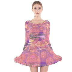 Glorious Skies, Abstract Pink And Yellow Dream Long Sleeve Velvet Skater Dress