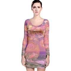 Glorious Skies, Abstract Pink And Yellow Dream Long Sleeve Velvet Bodycon Dress