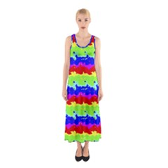 Colorful Abstract Collage Print Full Print Maxi Dress