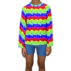 Colorful Abstract Collage Print Kid s Long Sleeve Swimwear