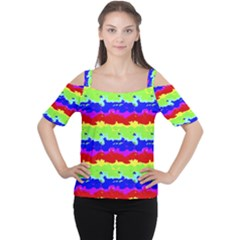 Colorful Abstract Collage Print Women s Cutout Shoulder Tee