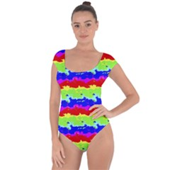 Colorful Abstract Collage Print Short Sleeve Leotard (ladies)