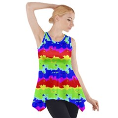 Colorful Abstract Collage Print Side Drop Tank Tunic