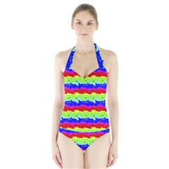 Colorful Abstract Collage Print Women s Halter One Piece Swimsuit