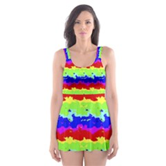 Colorful Abstract Collage Print Skater Dress Swimsuit