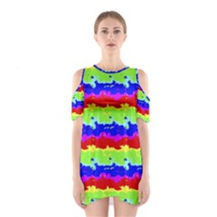 Colorful Abstract Collage Print Cutout Shoulder Dress