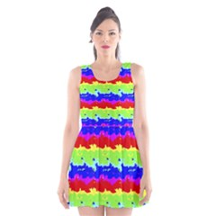 Colorful Abstract Collage Print Scoop Neck Skater Dress