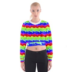 Colorful Abstract Collage Print Women s Cropped Sweatshirt