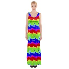 Colorful Abstract Collage Print Maxi Thigh Split Dress